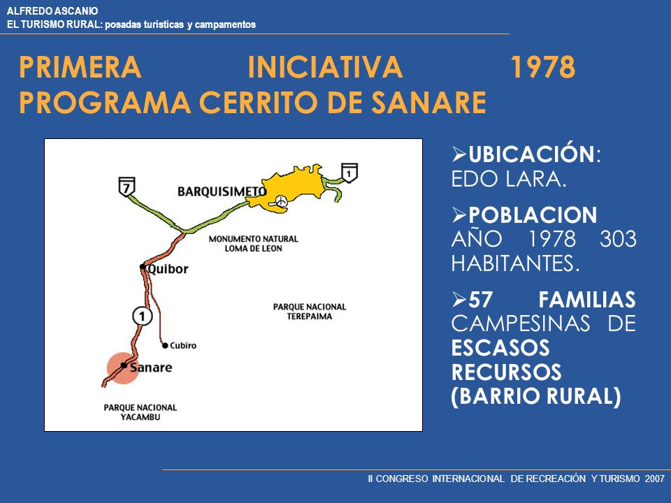 PRIMERA INICIATIVA 1978 PROGRAMA CERRITO DE SANARE