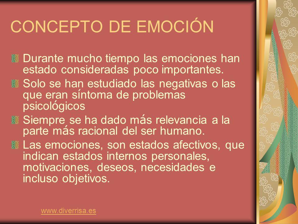 CONCEPTO DE EMOCIÓN Durante mucho tiempo las emociones han estado consideradas poco importantes.