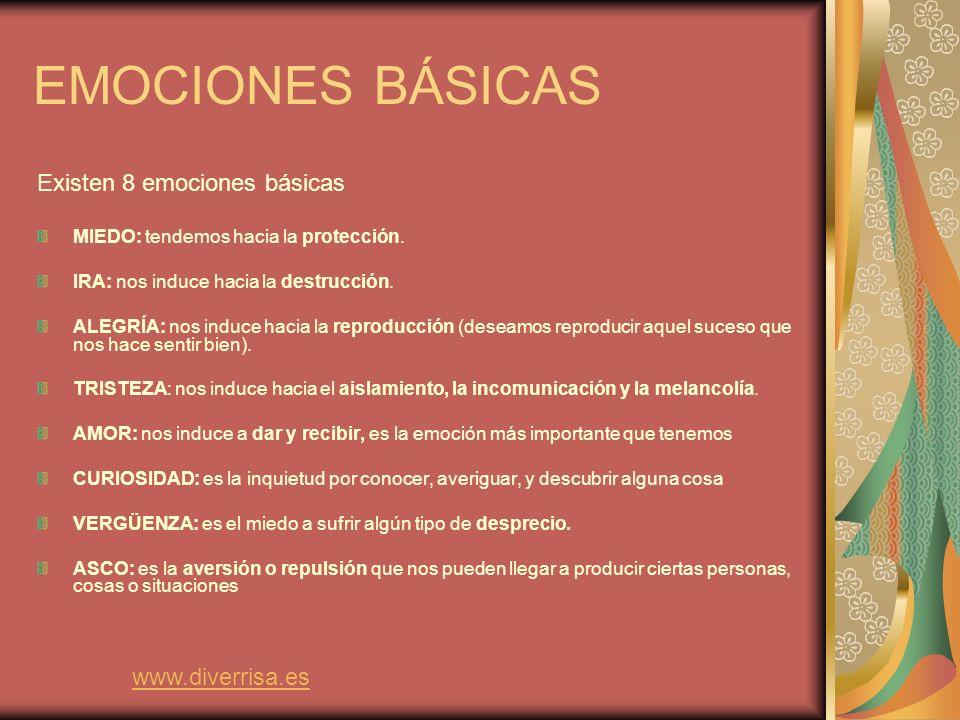 EMOCIONES BÁSICAS Existen 8 emociones básicas www.diverrisa.es