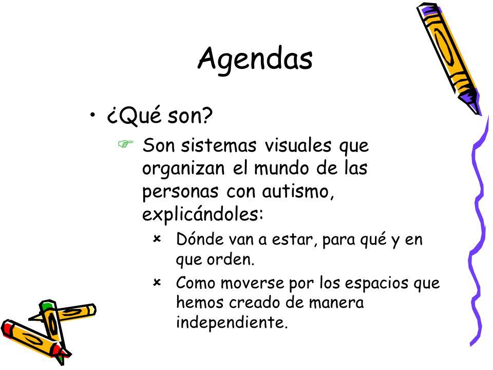 Agendas ¿Qué son Son sistemas visuales que organizan el mundo de las personas con autismo, explicándoles: