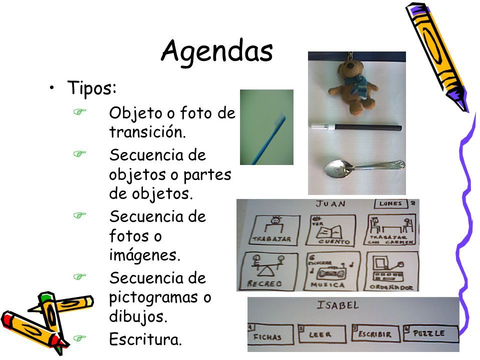 Agendas Tipos: Objeto o foto de transición.