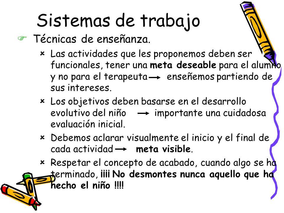 Sistemas de trabajo Técnicas de enseñanza.