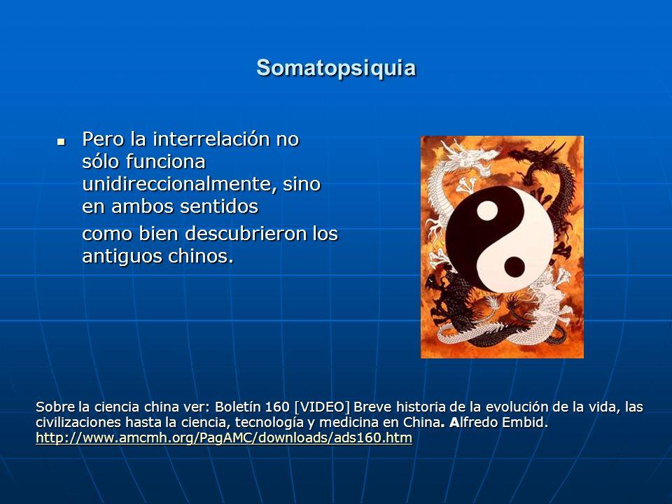 Somatopsiquia Pero la interrelación no sólo funciona unidireccionalmente, sino en ambos sentidos. como bien descubrieron los antiguos chinos.
