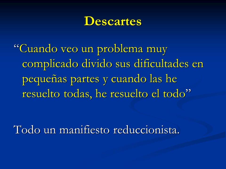 Descartes Cuando veo un problema muy complicado divido sus dificultades en pequeñas partes y cuando las he resuelto todas, he resuelto el todo