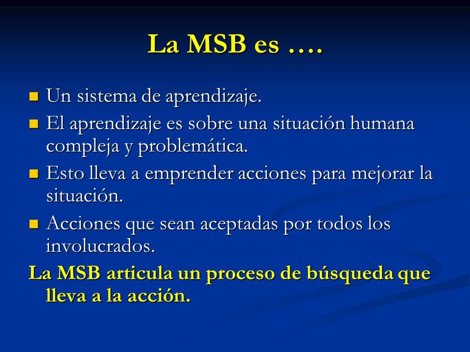 La MSB es …. Un sistema de aprendizaje.