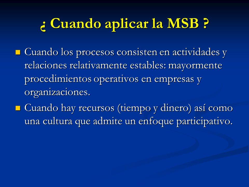 ¿ Cuando aplicar la MSB