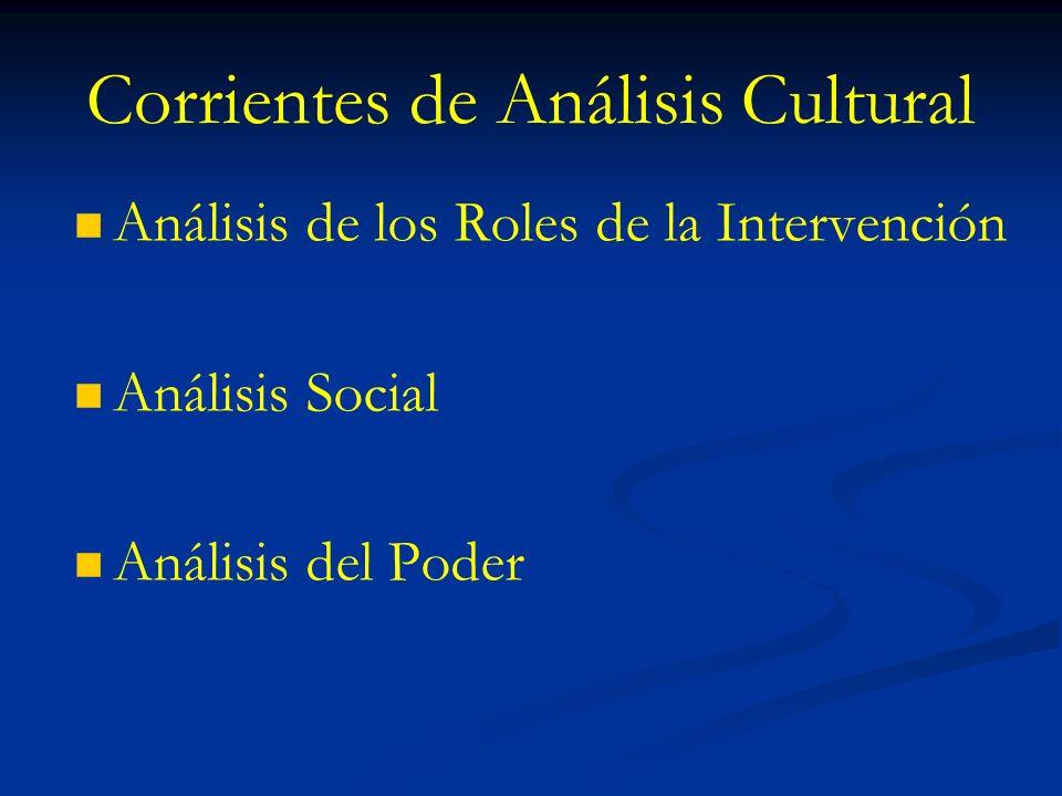 Corrientes de Análisis Cultural