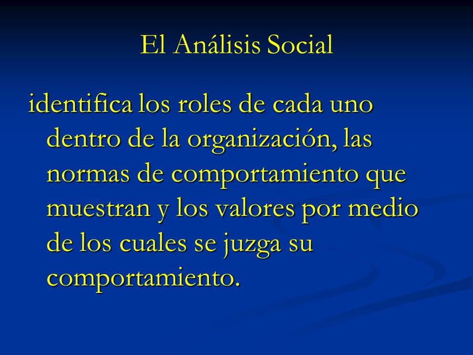 El Análisis Social