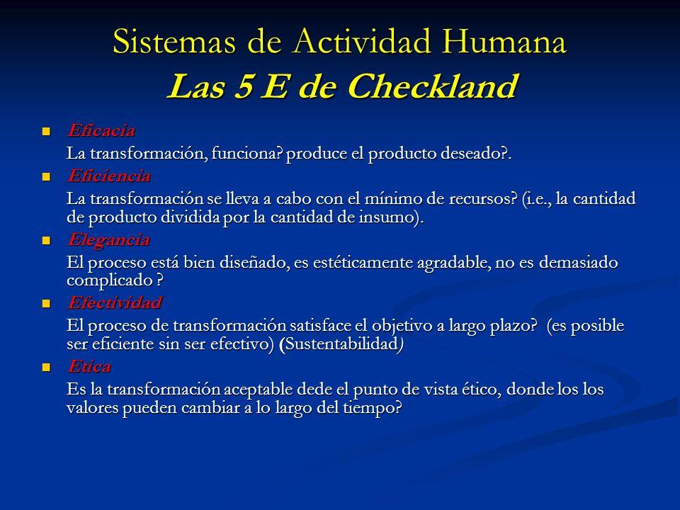 Sistemas de Actividad Humana Las 5 E de Checkland
