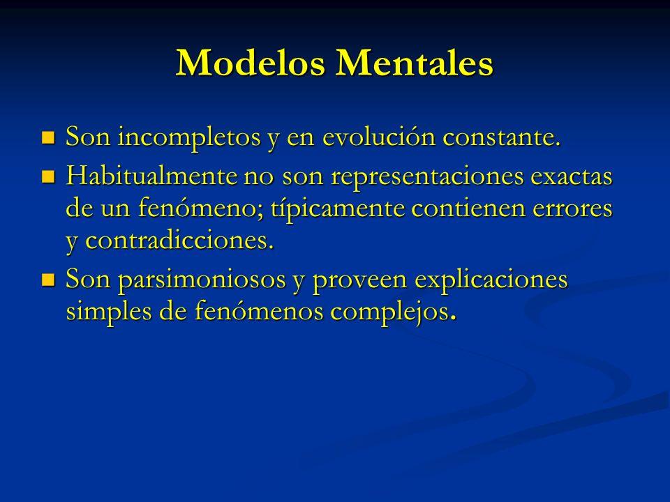 Modelos Mentales Son incompletos y en evolución constante.