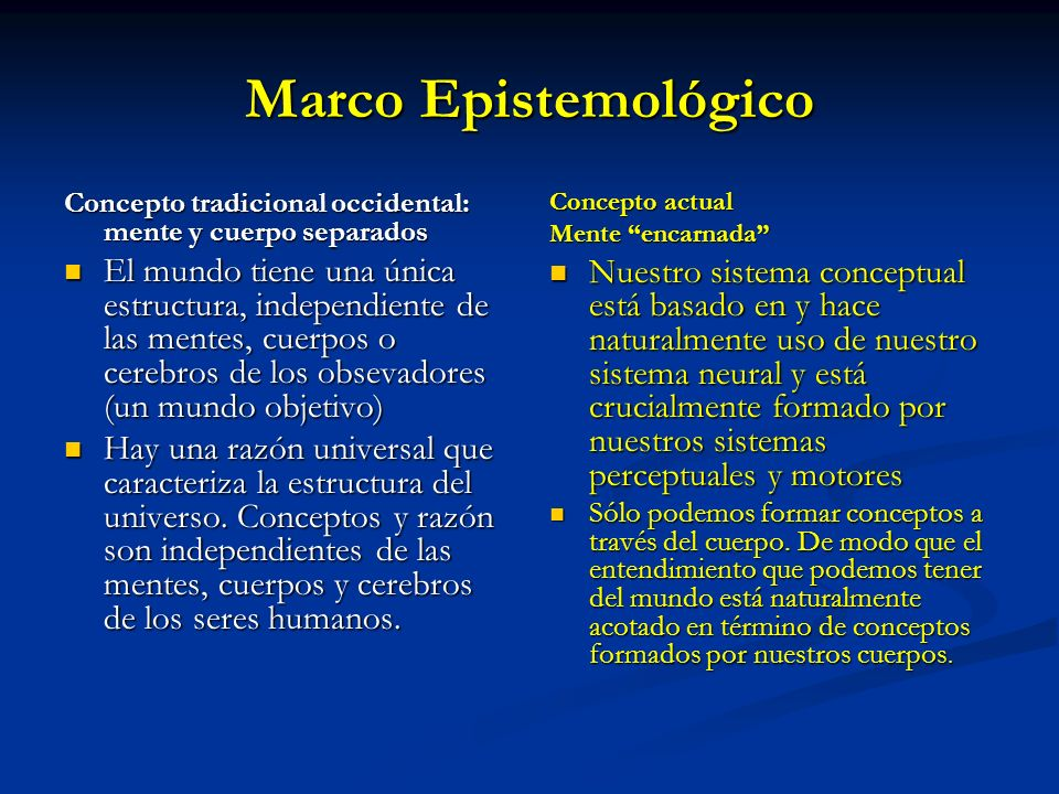 Marco Epistemológico Concepto tradicional occidental: mente y cuerpo separados.