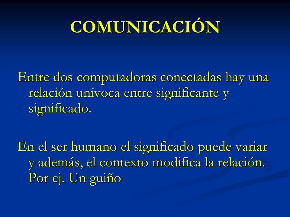 COMUNICACIÓN Entre dos computadoras conectadas hay una relación unívoca entre significante y significado.