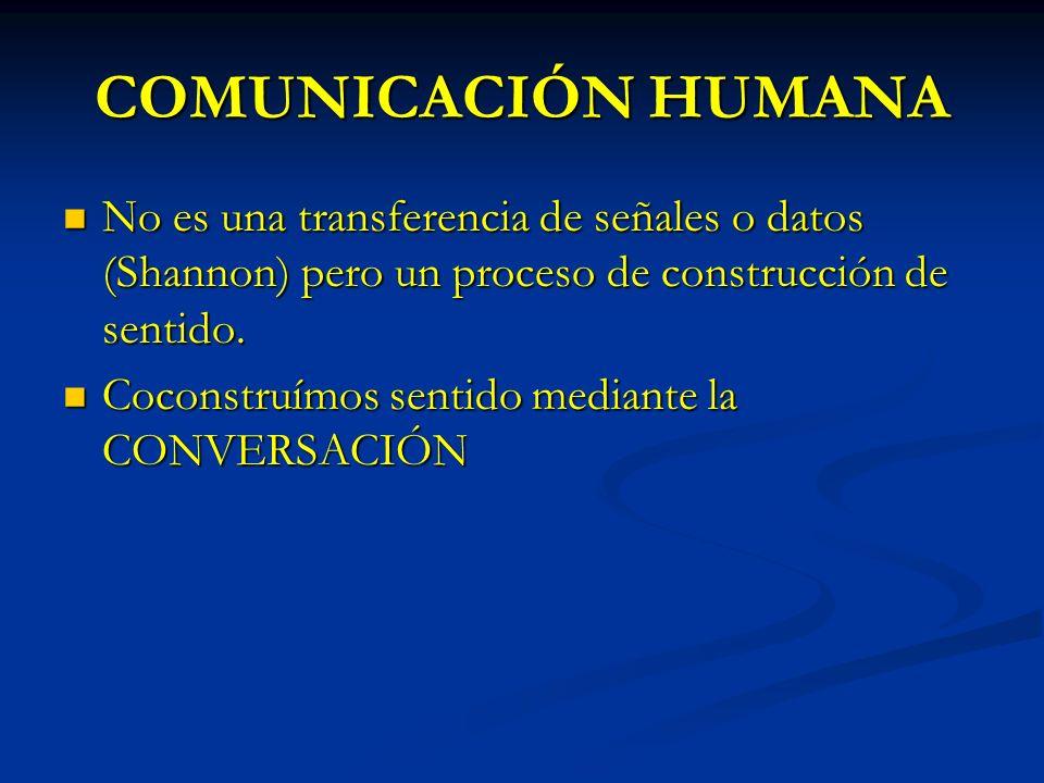 COMUNICACIÓN HUMANA No es una transferencia de señales o datos (Shannon) pero un proceso de construcción de sentido.