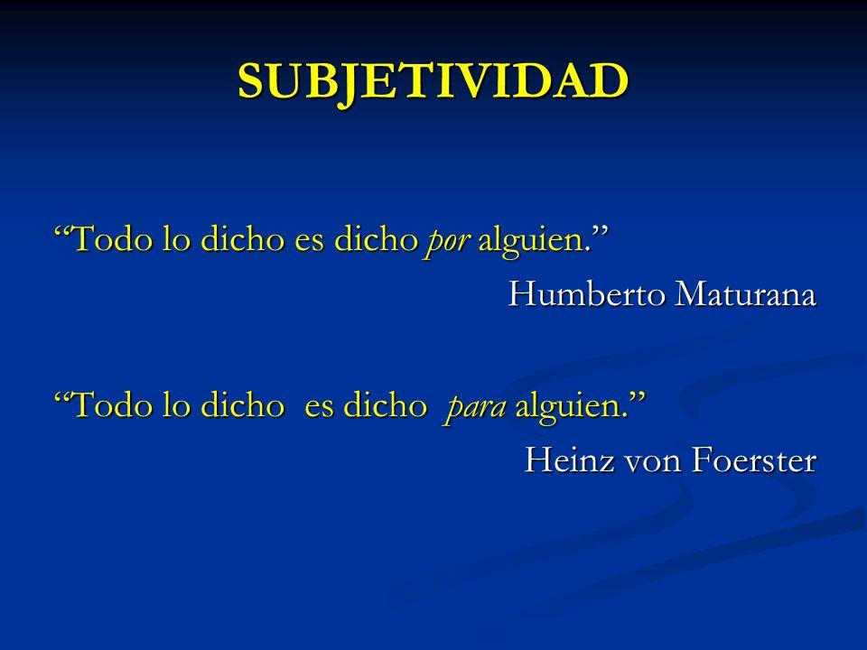 SUBJETIVIDAD Todo lo dicho es dicho por alguien. Humberto Maturana