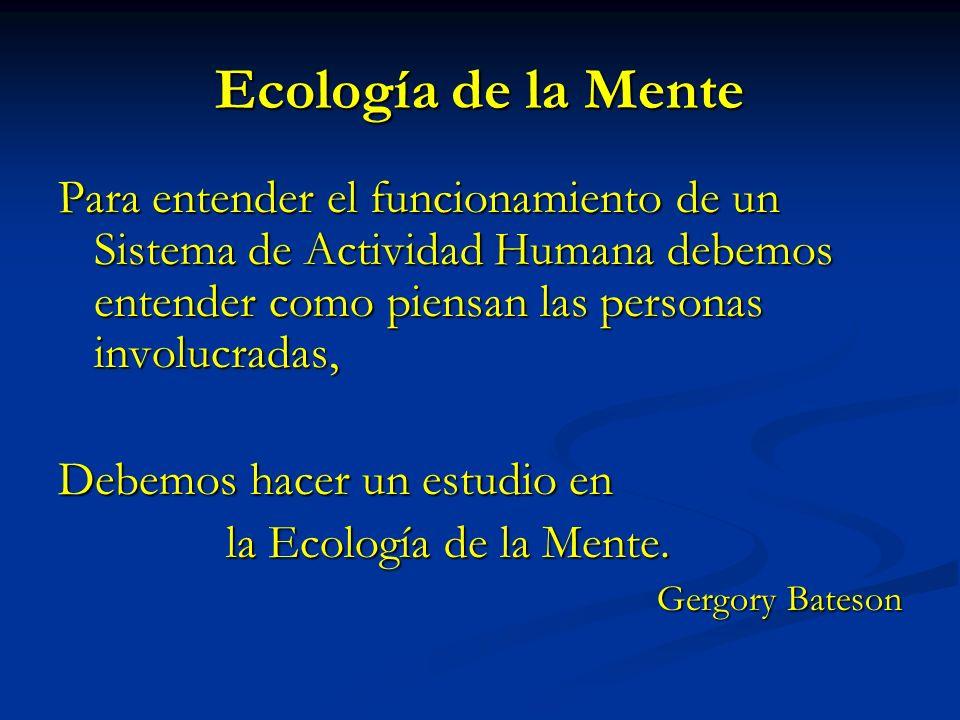 Ecología de la Mente Para entender el funcionamiento de un Sistema de Actividad Humana debemos entender como piensan las personas involucradas,