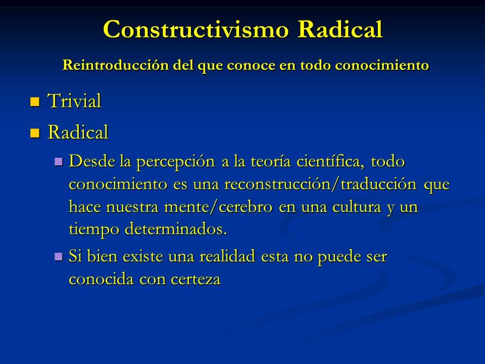 Constructivismo Radical Reintroducción del que conoce en todo conocimiento