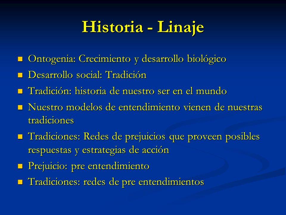 Historia - Linaje Ontogenia: Crecimiento y desarrollo biológico