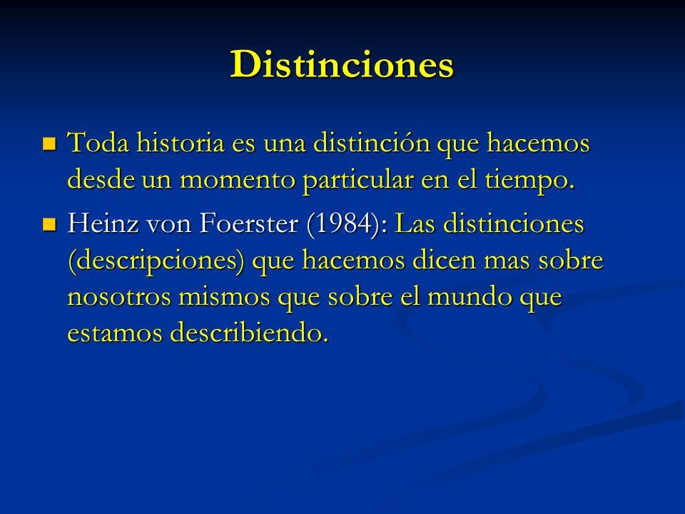 Distinciones Toda historia es una distinción que hacemos desde un momento particular en el tiempo.