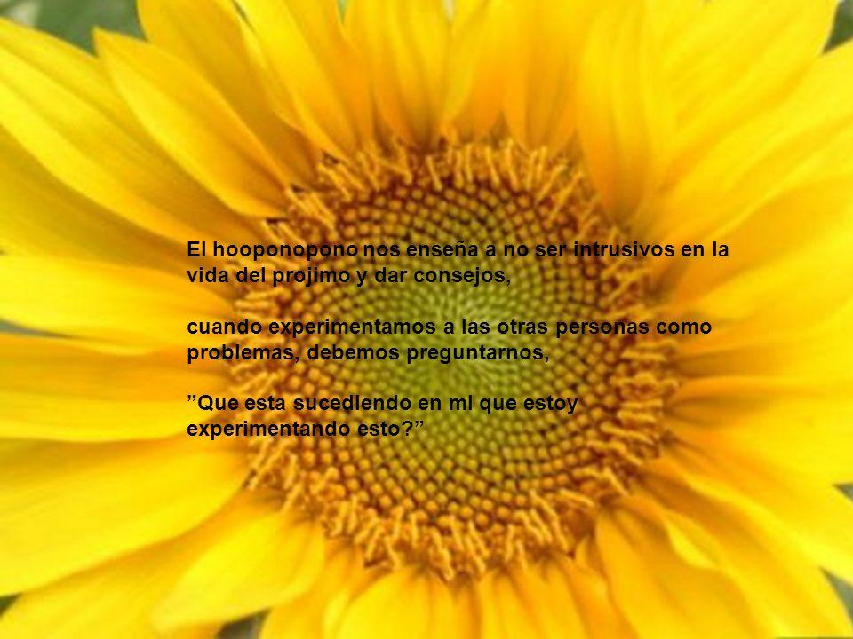 El hooponopono nos enseña a no ser intrusivos en la vida del projimo y dar consejos,