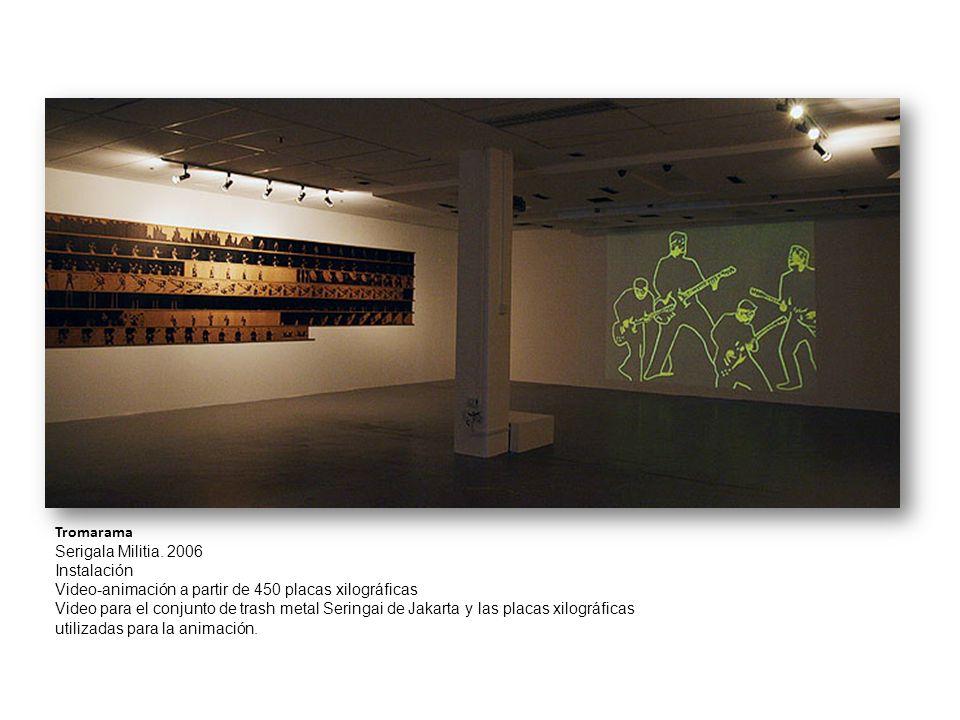Tromarama Serigala Militia. 2006 Instalación Video-animación a partir de 450 placas xilográficas.