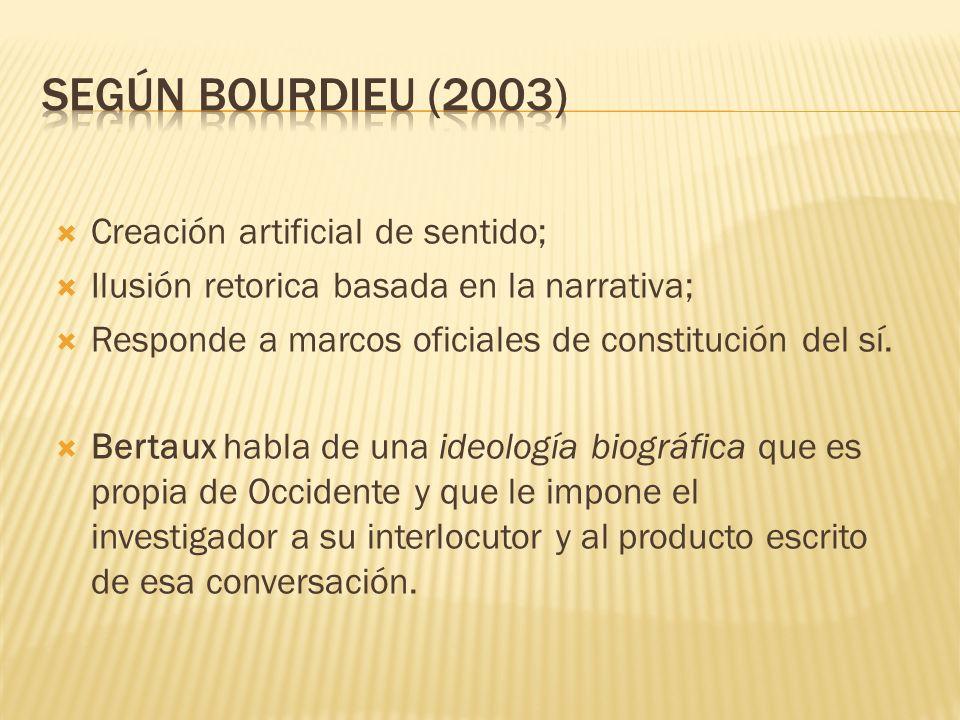 Según Bourdieu (2003) Creación artificial de sentido;
