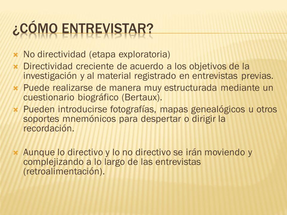 ¿Cómo entrevistar No directividad (etapa exploratoria)