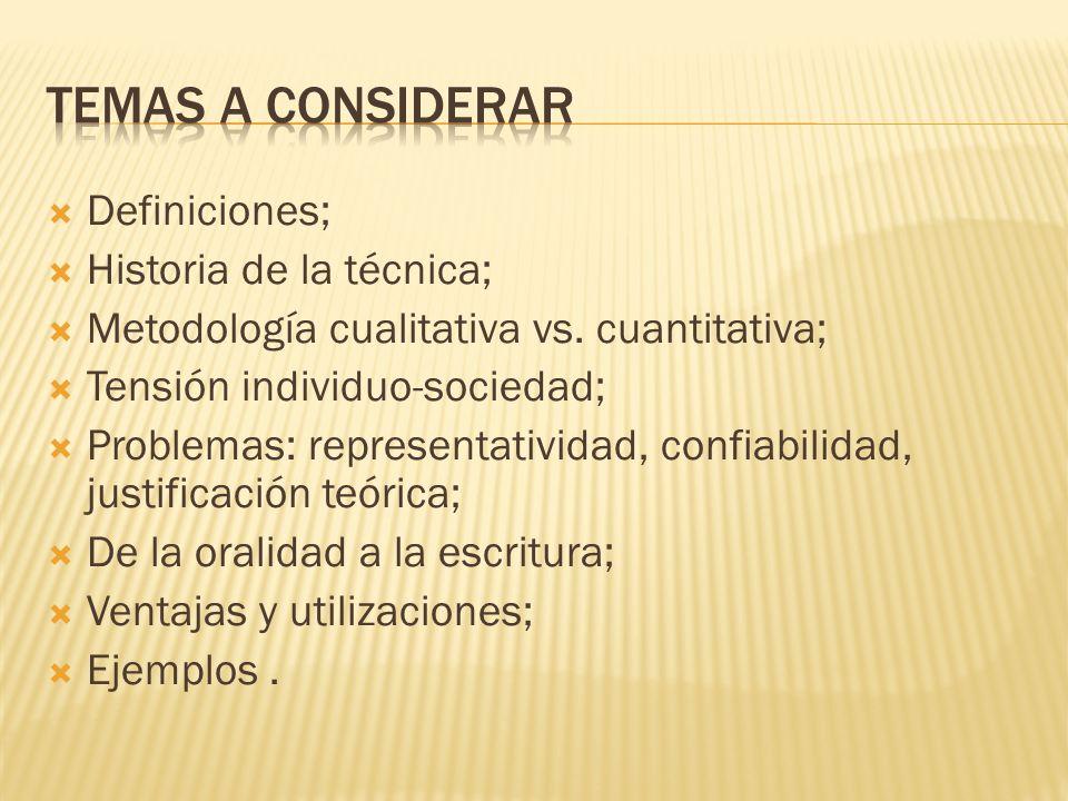 Temas a considerar Definiciones; Historia de la técnica;