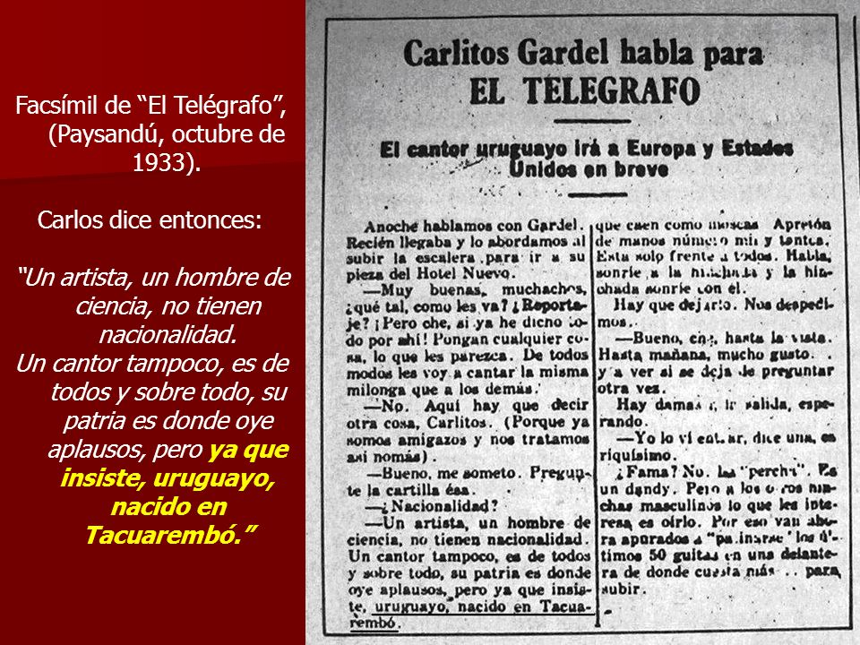 Facsímil de El Telégrafo , (Paysandú, octubre de 1933).