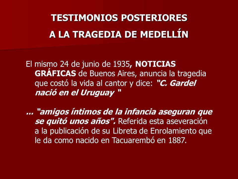 TESTIMONIOS POSTERIORES A LA TRAGEDIA DE MEDELLÍN