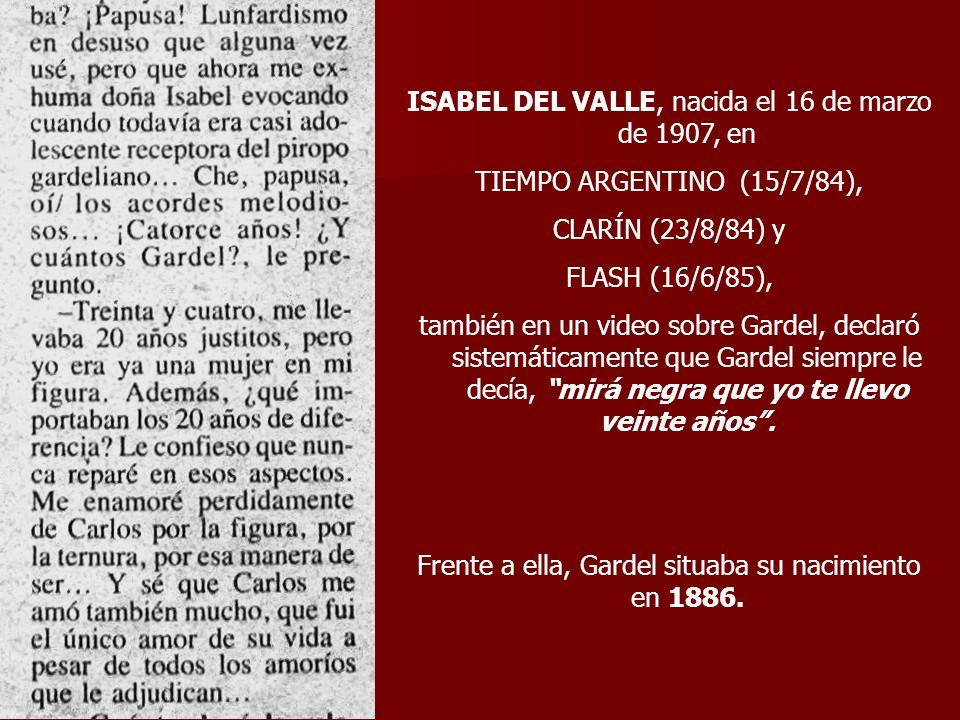 ISABEL DEL VALLE, nacida el 16 de marzo de 1907, en