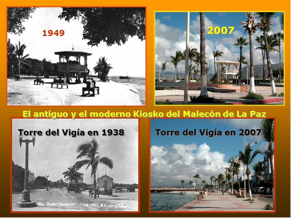 El antiguo y el moderno Kiosko del Malecón de La Paz
