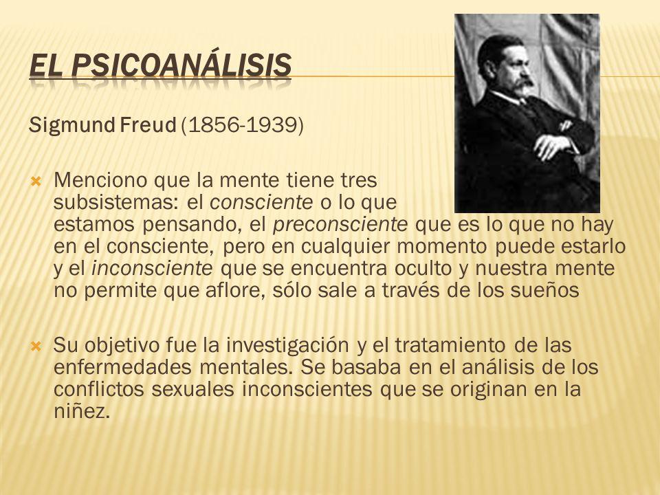El Psicoanálisis Sigmund Freud (1856-1939)