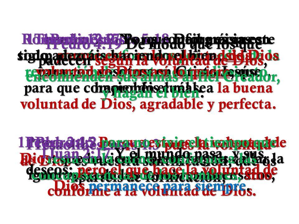 1Pedro 3:17 Porque mejor es que padezcáis haciendo el bien, si la voluntad de Dios así lo quiere, que haciendo el mal.