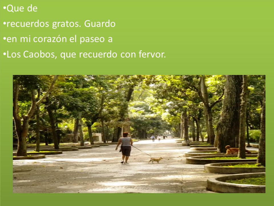 Que de recuerdos gratos. Guardo en mi corazón el paseo a Los Caobos, que recuerdo con fervor.