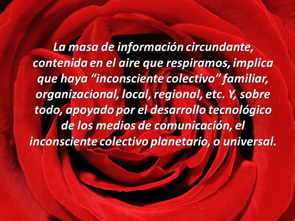 La masa de información circundante, contenida en el aire que respiramos, implica que haya inconsciente colectivo familiar, organizacional, local, regional, etc.