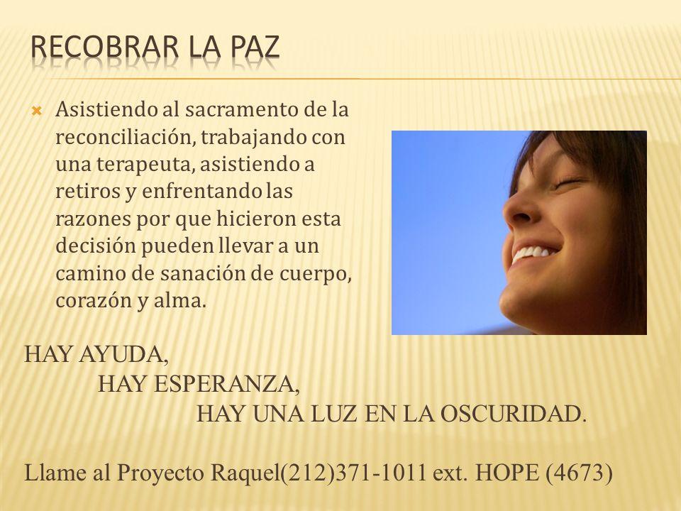 Recobrar la paz HAY AYUDA, HAY ESPERANZA, HAY UNA LUZ EN LA OSCURIDAD.