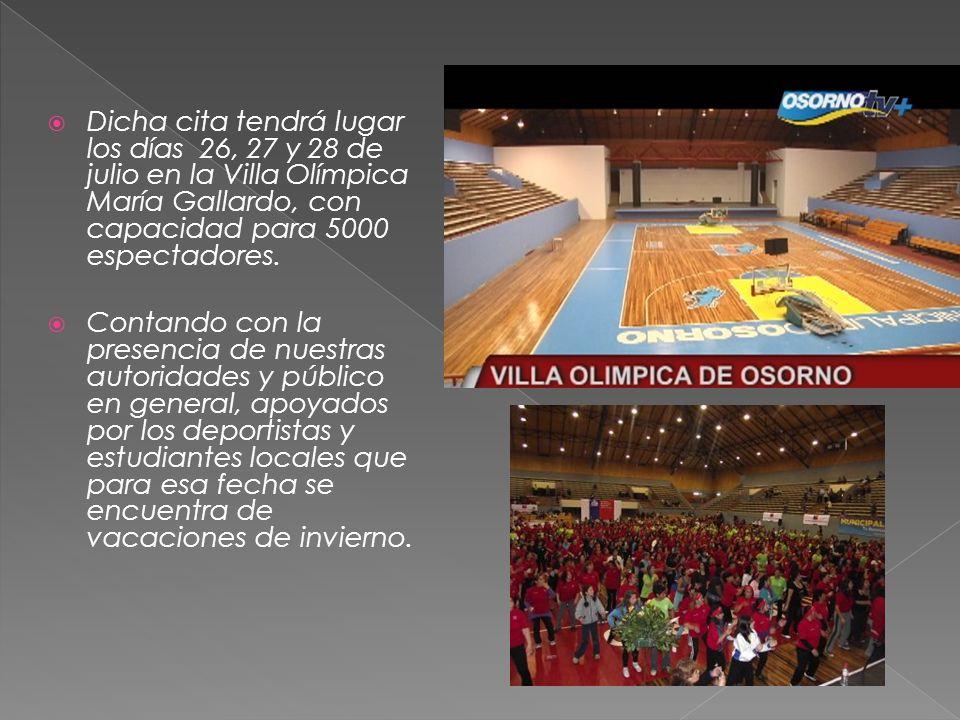 Dicha cita tendrá lugar los días 26, 27 y 28 de julio en la Villa Olímpica María Gallardo, con capacidad para 5000 espectadores.