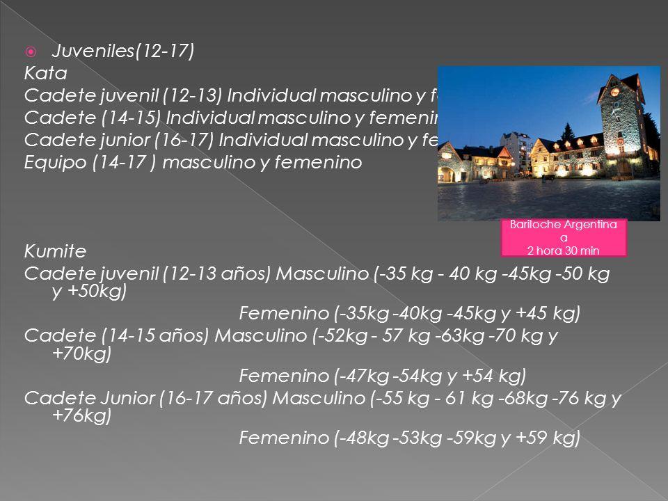 Cadete juvenil (12-13) Individual masculino y femenino