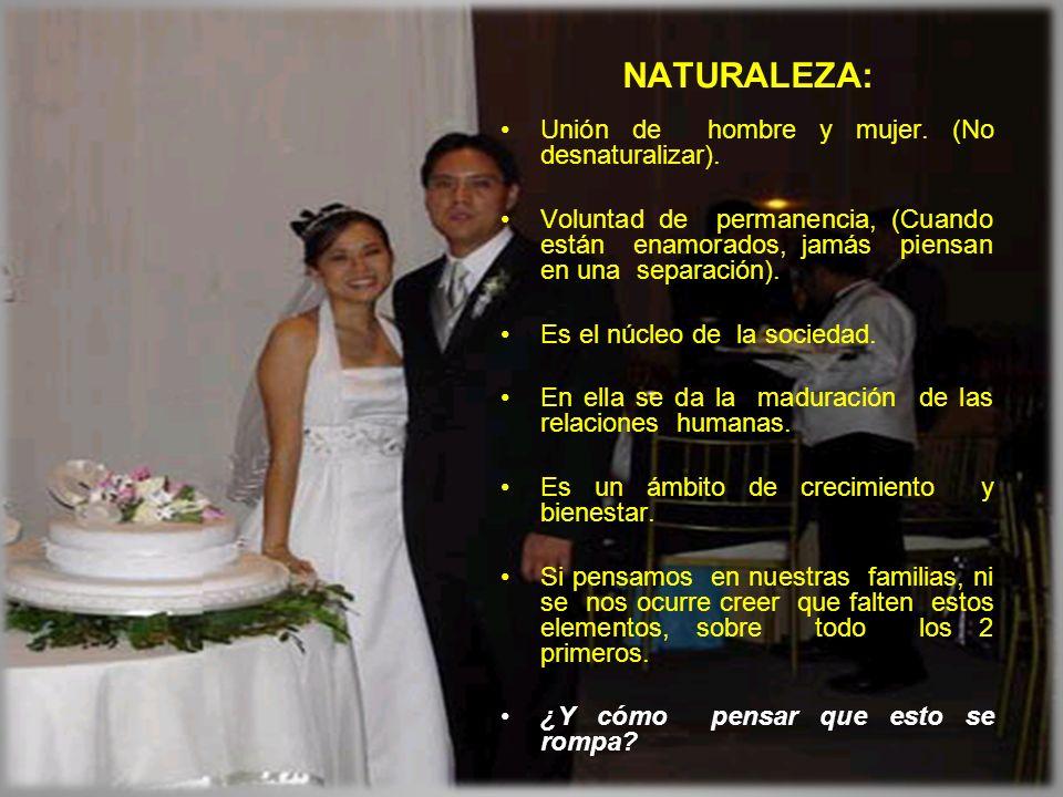 NATURALEZA: Unión de hombre y mujer. (No desnaturalizar).