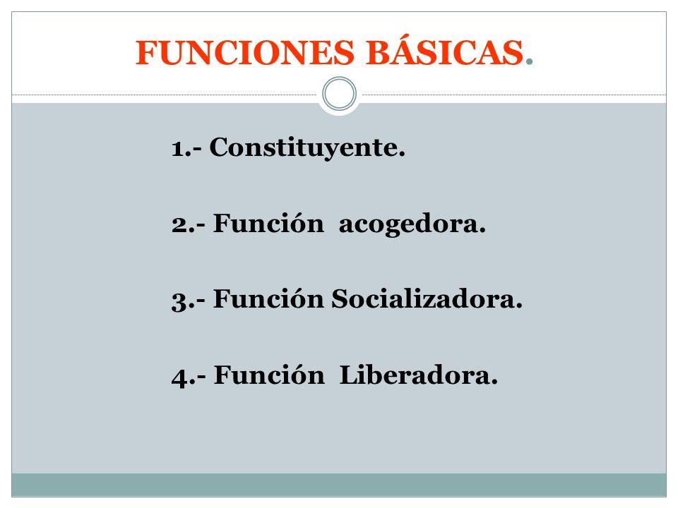 FUNCIONES BÁSICAS. 1.- Constituyente. 2.- Función acogedora.