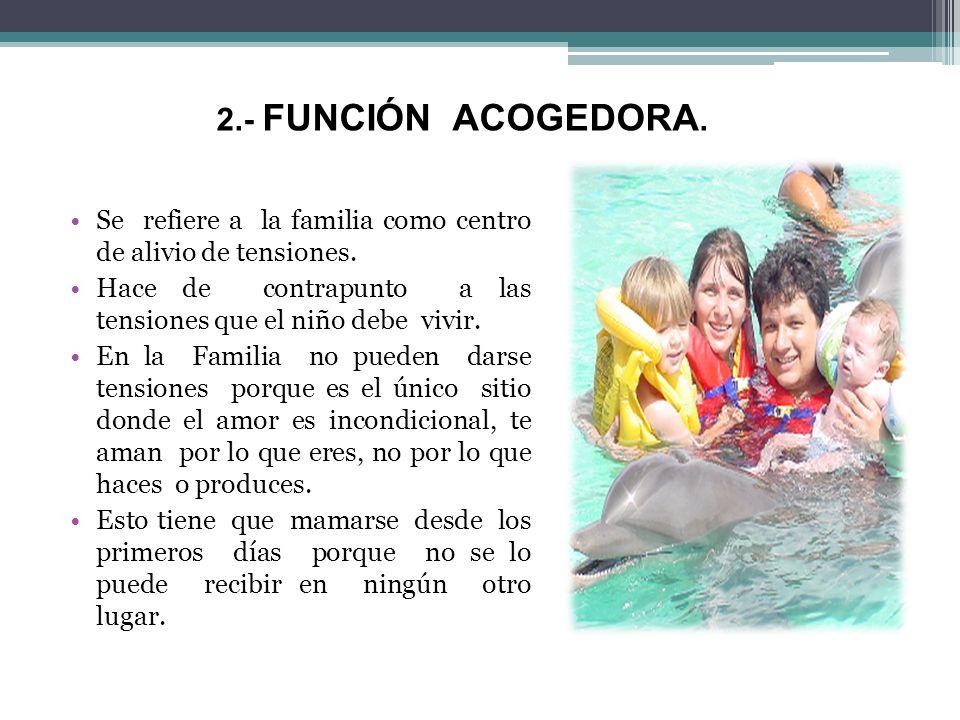 2.- FUNCIÓN ACOGEDORA. Se refiere a la familia como centro de alivio de tensiones.