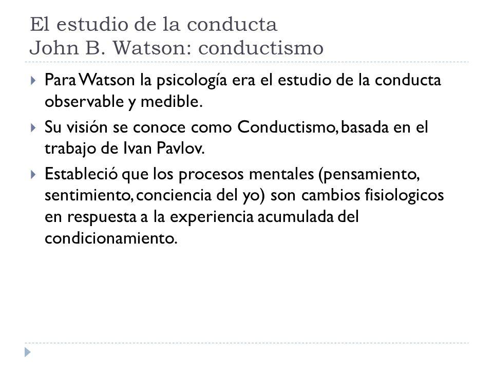 El estudio de la conducta John B. Watson: conductismo