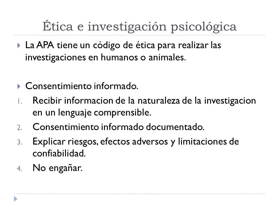 Ética e investigación psicológica