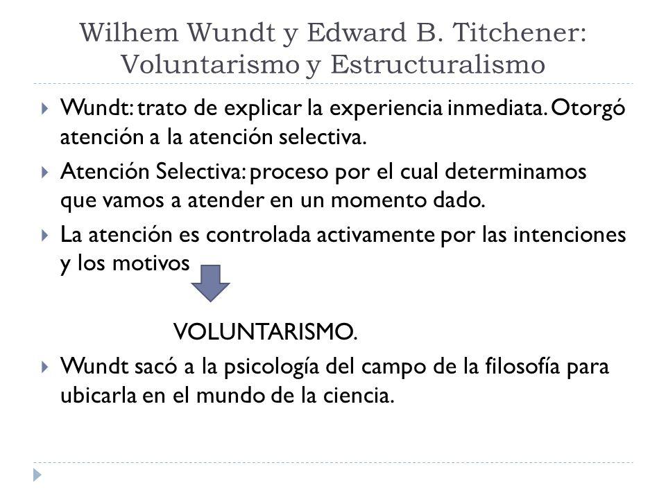 Wilhem Wundt y Edward B. Titchener: Voluntarismo y Estructuralismo