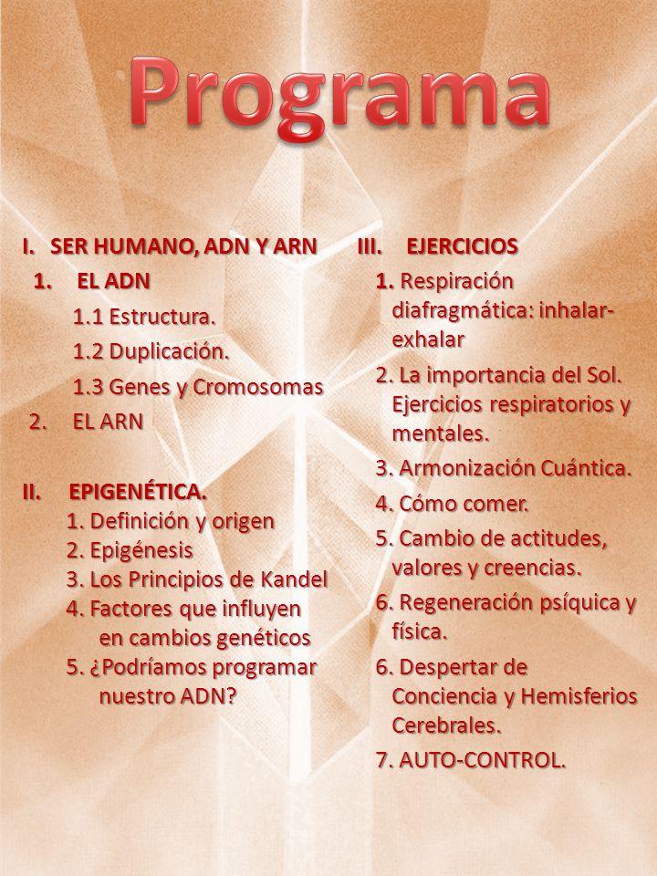 Programa SER HUMANO, ADN Y ARN EJERCICIOS EL ADN