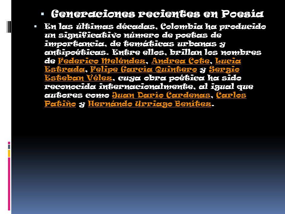 Generaciones recientes en Poesía