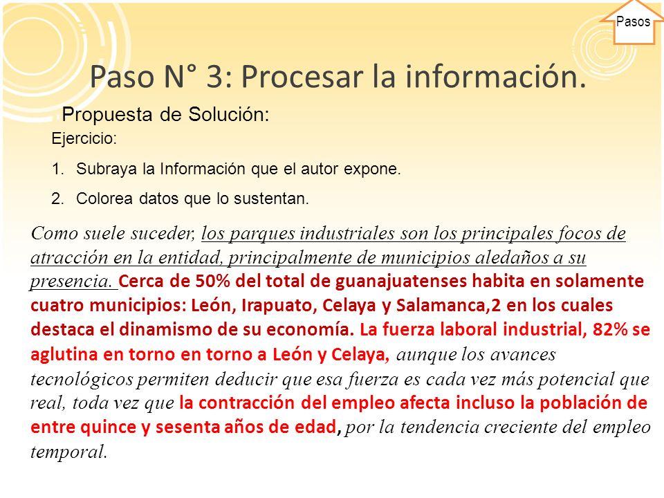 Paso N° 3: Procesar la información.