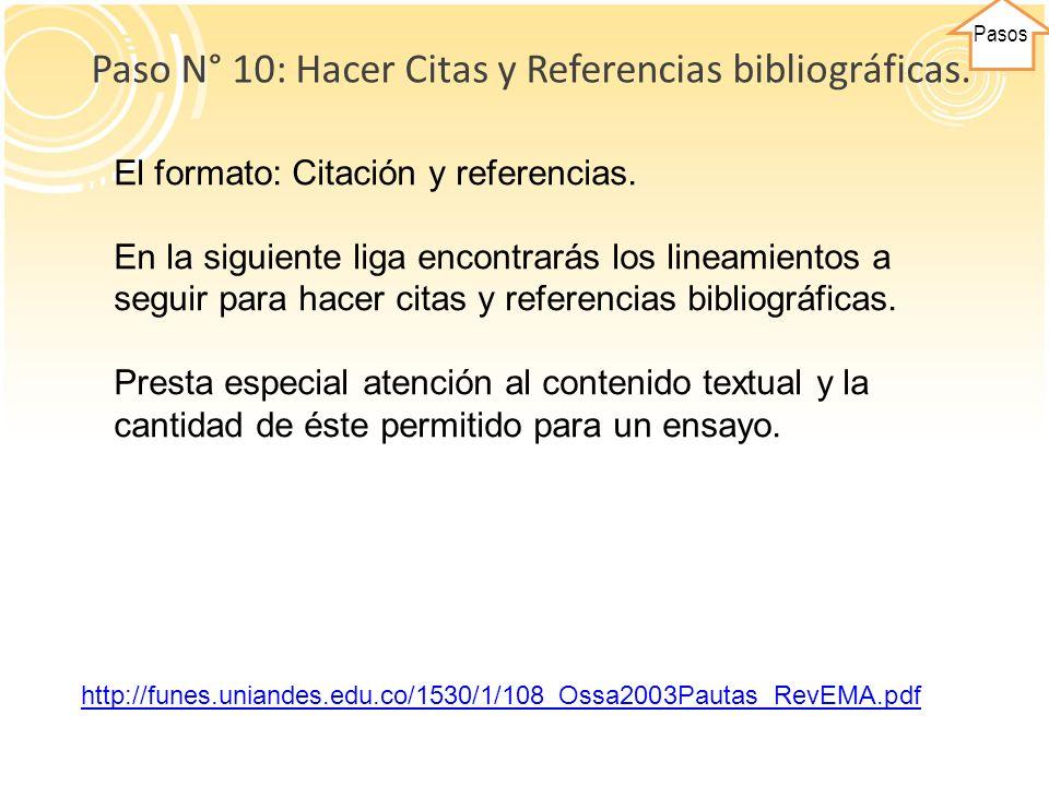 Paso N° 10: Hacer Citas y Referencias bibliográficas.