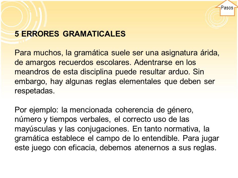 Pasos 5 ERRORES GRAMATICALES.