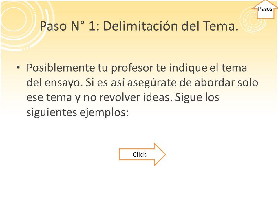 Paso N° 1: Delimitación del Tema.